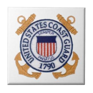 Emblema del guardacostas de Estados Unidos Azulejo Cuadrado Pequeño