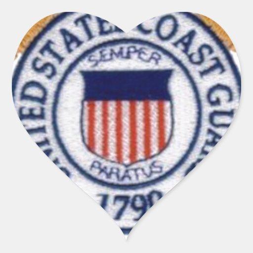 Emblema del guardacostas de Estados Unidos Pegatina En Forma De Corazón