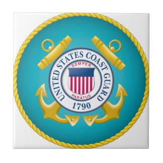 Emblema del guardacostas de los E.E.U.U. Azulejo Cuadrado Pequeño