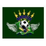 Emblema del logotipo del Brasil de cinco estrellas Postal