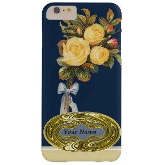 Emblema del oro de la flor del rosa amarillo funda de iPhone 6 plus barely there