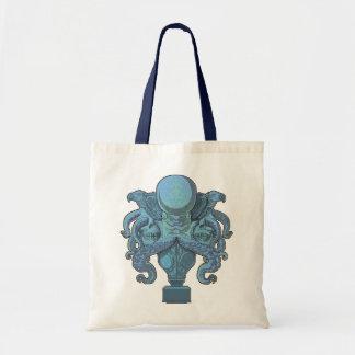 Emblema del pulpo (azul) bolsa tela barata