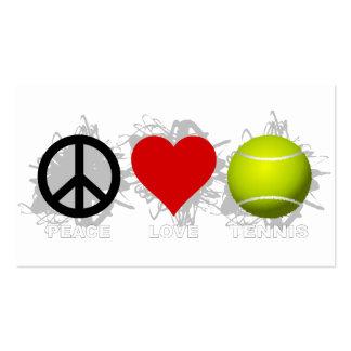 Emblema del tenis del amor de la paz tarjetas de visita