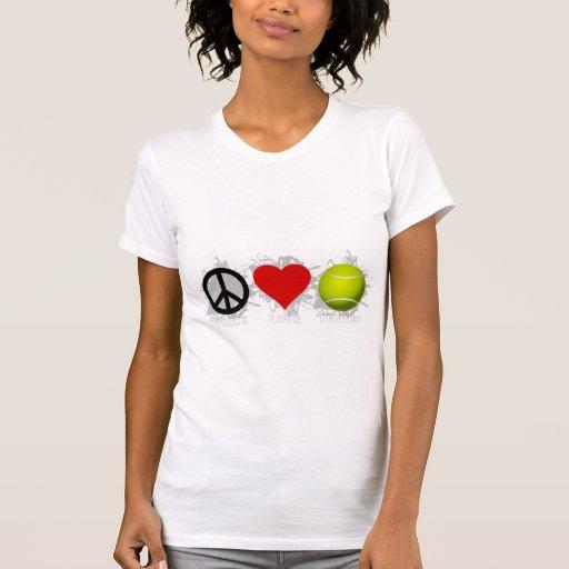 Emblema del tenis del amor de la paz tshirt