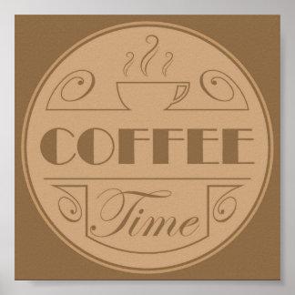 Emblema del tiempo del café póster