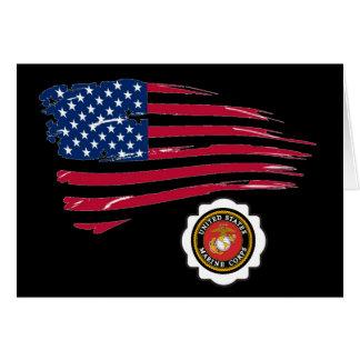 Emblema del USMC y bandera de U S Tarjeta De Felicitación