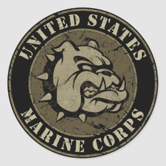 Emblema del vintage del perro de diablo etiquetas redondas