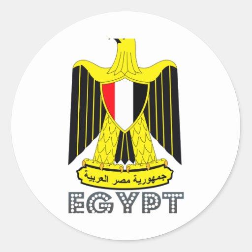 Emblema egipcio etiquetas redondas