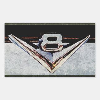 Emblema grande del bloque de V8 del Grunge Pegatina Rectangular