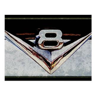 Emblema grande del bloque de V8 del Grunge Tarjetas Postales