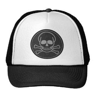 Emblema gris del cráneo y de la bandera pirata gorras