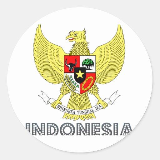 Emblema indonesio pegatina redonda