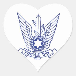 Emblema israelí de la fuerza aérea pegatina en forma de corazón