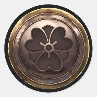 Emblema japonés (Kamon) Etiqueta Redonda