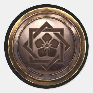 Emblema japonés (Kamon) Pegatina Redonda