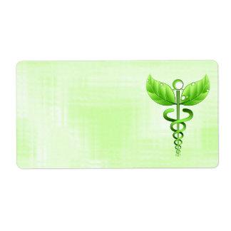 Emblema médico del caduceo del verde de la etiqueta de envío