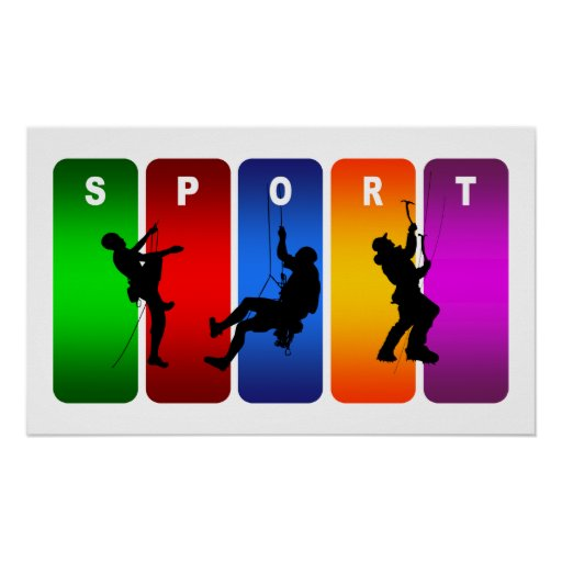 Emblema multicolor de la escalada posters