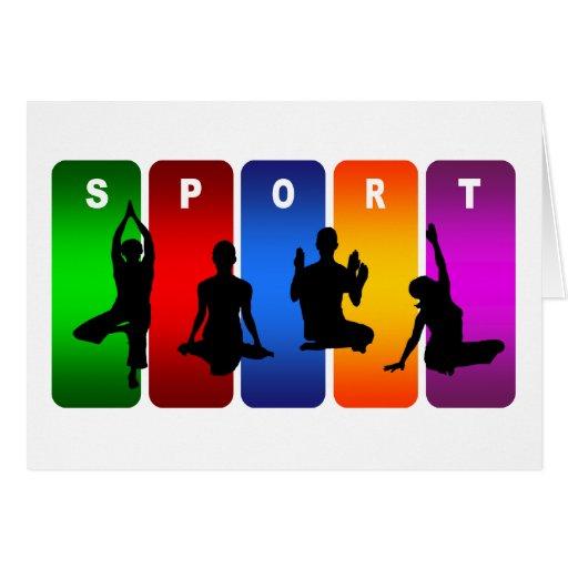 Emblema multicolor de la yoga tarjeta de felicitación