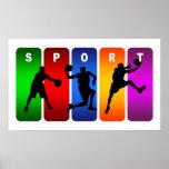 Emblema multicolor del baloncesto impresiones