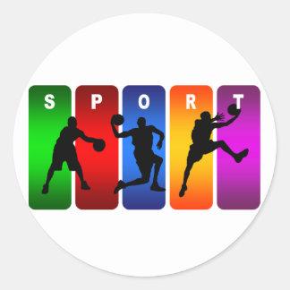 Emblema multicolor del baloncesto pegatina redonda