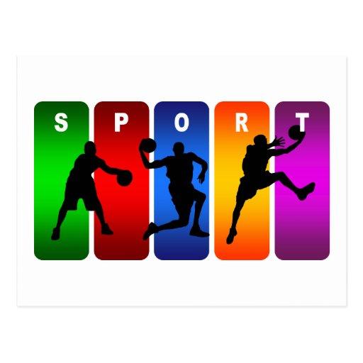 Emblema multicolor del baloncesto tarjetas postales