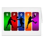 Emblema multicolor del baloncesto tarjetón