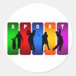 Emblema multicolor del golf pegatina redonda