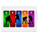 Emblema multicolor del hockey tarjeta de felicitación