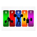 Emblema multicolor del levantamiento de pesas invitaciones personales