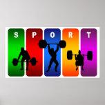 Emblema multicolor del levantamiento de pesas impresiones