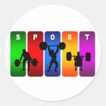 Emblema multicolor del levantamiento de pesas pegatina redonda