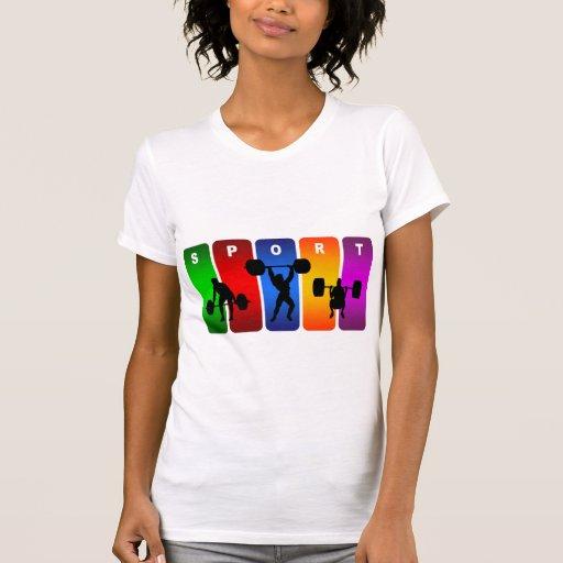 Emblema multicolor del levantamiento de pesas camiseta