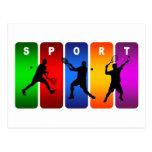 Emblema multicolor del tenis (varón) postal