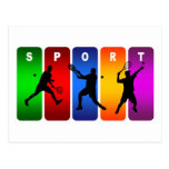 Emblema multicolor del tenis (varón) tarjeta postal