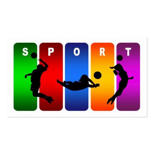 Emblema multicolor del voleibol tarjetas de visita