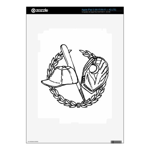 Emblema negro del béisbol iPad 3 skin