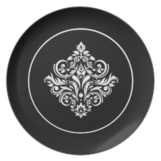 Emblema negro real del damasco plato de cena