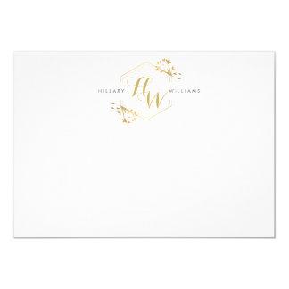 """Emblema Notecard plano del monograma de la vid y Invitación 5"""" X 7"""""""