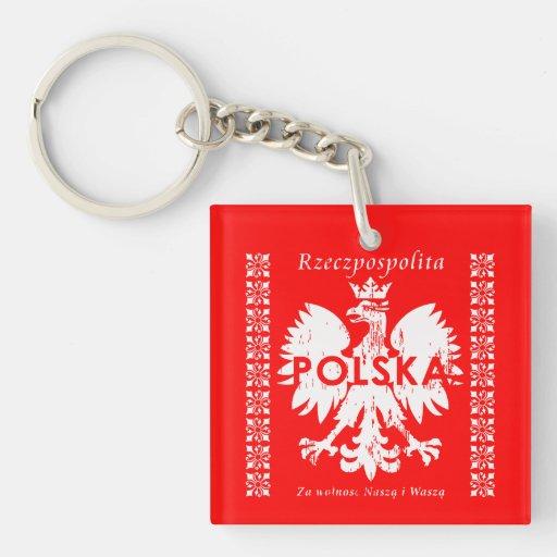 Emblema polaco de Polonia Rzeczpospolita Polska Llavero Cuadrado Acrílico A Doble Cara