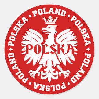 Emblema polaco de Polska Eagle Pegatina Redonda