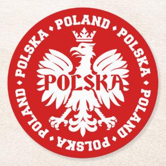 Emblema polaco de Polska Eagle Posavasos Desechable Redondo