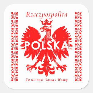 Emblema polaco de Rzeczpospolita Polska Eagle Pegatina Cuadrada