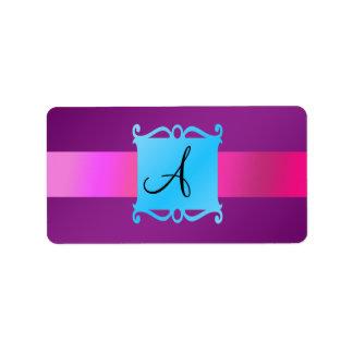 Emblema púrpura de la suposición del monograma etiqueta de dirección