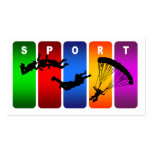 Emblema que se lanza en paracaídas multicolor tarjetas de visita