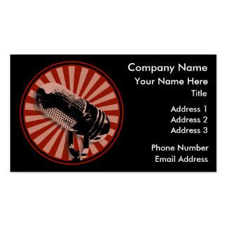 Emblema retro rojo del micrófono tarjetas de visita