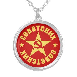 Emblema soviético de la estrella del martillo y de colgante redondo