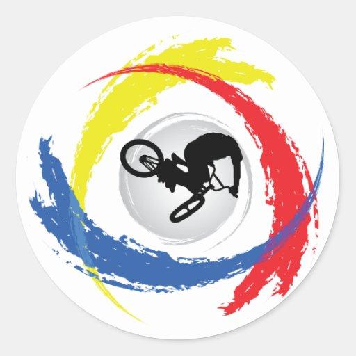 Emblema tricolor de BMX Pegatinas Redondas
