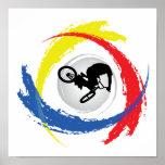 Emblema tricolor de BMX Posters