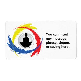 Emblema tricolor de la yoga etiquetas de envío