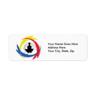Emblema tricolor de la yoga etiqueta de remite